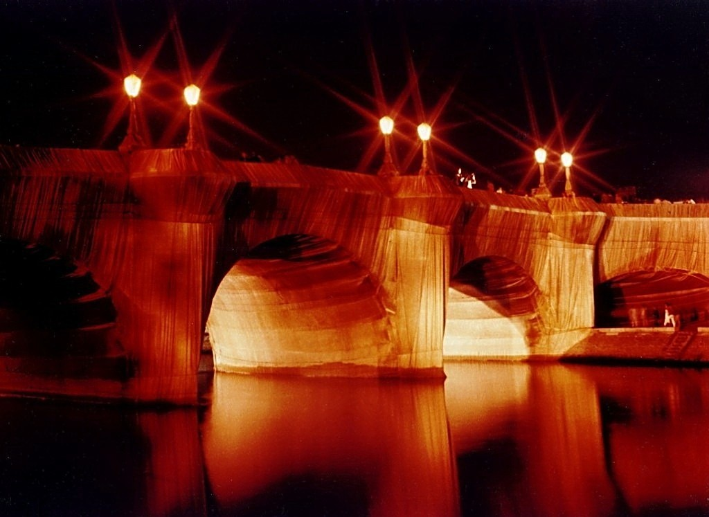 Pont Neuf wrapped by Christo in Paris 1985
