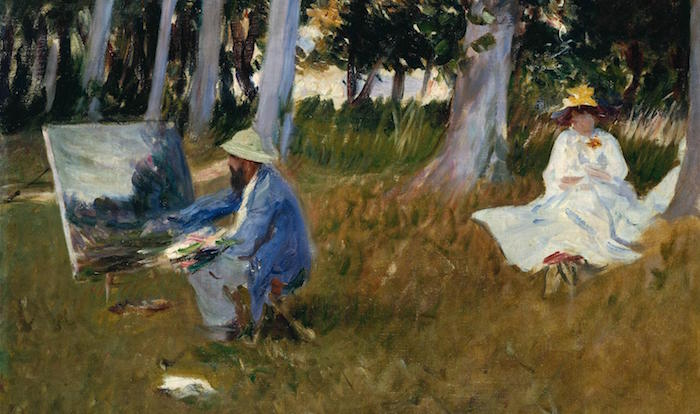 A scene of Claude Money painting by John Singer Sargent