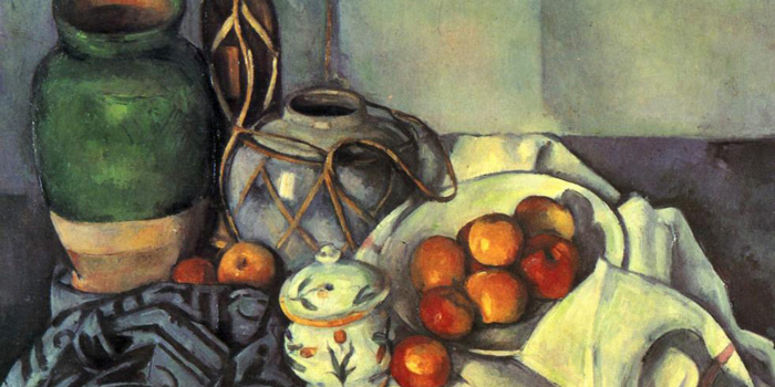 a still life painting by Paul Cezanne